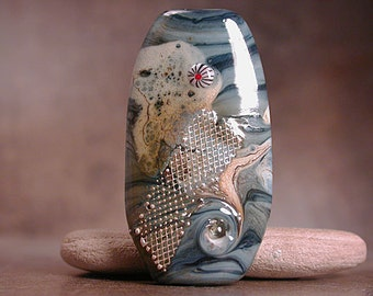 Lampwork Focal Bead Denim Blues Divine Spark Designs SRA
