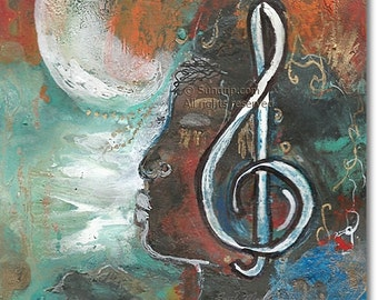 African American Woman in Beautiful Soulful Rich Earth Tone Colors Musical Art