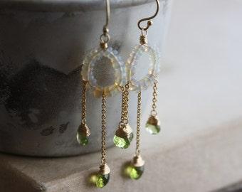 Welo opal & peridot chandelier earrings - 14k gold filled gemstone chandelier earrings - one-of-a-kind