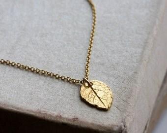Gold leaf necklace - gold vermeil rose leaf on 14k gold filled chain