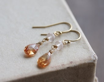 Gold gemstone drop earrings - rose quartz & tangerine quartz in 14k gold fill