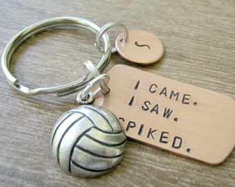 Volleyball Keychain, I Came, I Saw, I Spiked, volleyball team, v ball, volleyball coach, volleyball player gift, optional initial disc