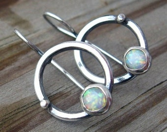 20% OFF TODAY - Opal Hoop Dangles sterling silver opal earrings .. October birthstone earrings