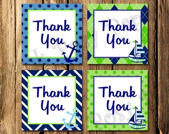 Printable Nautical Navy and Lime Thank You Tags - Instant Download