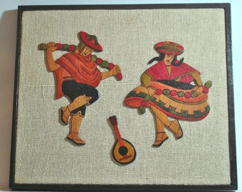 Vintage 1970s Painted Wood Picture Peruvian Dancers Framed