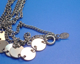 Vintage Long Silver Park Lane Chain and Disk Necklace