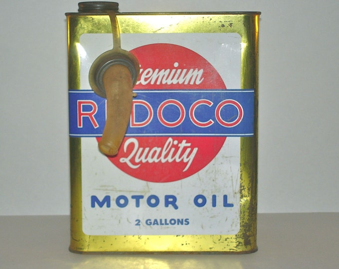 Vintage Premium Quality Redoco Motor Oil Can Red Head Oil Company