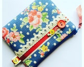 Bright Blue Floral Vintage Print Coin Purse, Zipper, Pouch, Women's Wallet with Ribbon, Lace and Button Trim