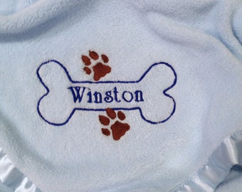 Personalized Fleece Doggie Blanket Embroidered  Satin Trim - Made to Order - Doggy