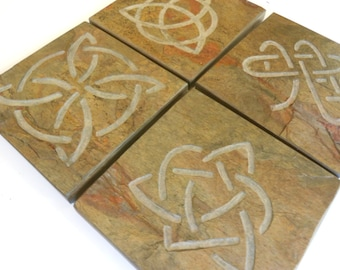 Celtic Knot Coaster Set - Handmade Carved Stone Coasters - 4 Assorted Celtic Knots Drink Coasters, Irish Celtic Gifts, Norse Viking Decor