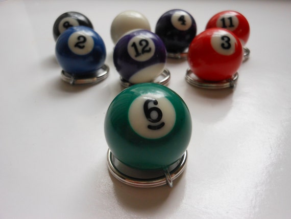 BILLIARD BALL KEYCHAIN - Lucky Number 6 - Small Pool Ball Key Ring - Recycled Game Piece