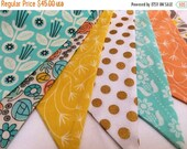 HALF PRICE Girl's Bunting Flags, Flag Banner, Party Decor, Sweet Vintage Reproduction Photography Prop, 9 Large Flags, Fabric Banner. Ready