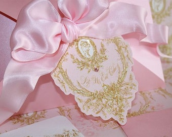 Tags, Favors, Gift Tags, Marie Antoinette Silhouette Pink Die Cut Gift Tags ( Set of 8 )