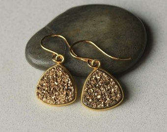 SALE Gold Druzy Earrings, Druzy Jewelry, Drusy Jewelry, Small Drop Earrings, Gold Jewellery, Holiday Jewelry, Jewelry Gift, Druzy Jewellery