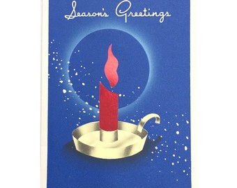 1940s Christmas Card - Modern Candle and Snow
