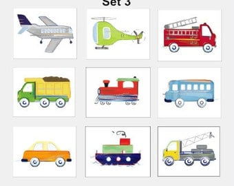 Transportation Wall Art, Boys Transportation Art, Airplane, Bus, Truck Art, Helicopter Art, 9 Brody Art Print Set, For Brody Bedding Decor