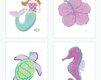Mermaid Art, Girls Mermaid, Art Prints for Girls Purple, Teal, Aqua Bedding Decor, Mermaid Hibiscus Decor, Choose your 8 x 10 set size