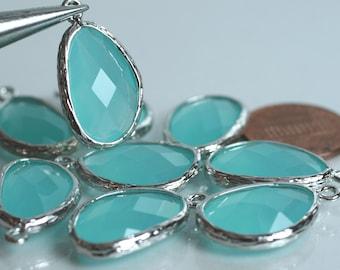 Promotion SALE 25% off Framed sea blue glass drop charm connector, earring componenet, necklace pendant, 2 pcs (item ID G52N02SP)