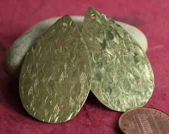 Hand hammered solid brass drop dangle 42x25mm, 2 pcs (item ID XW01178RBK)
