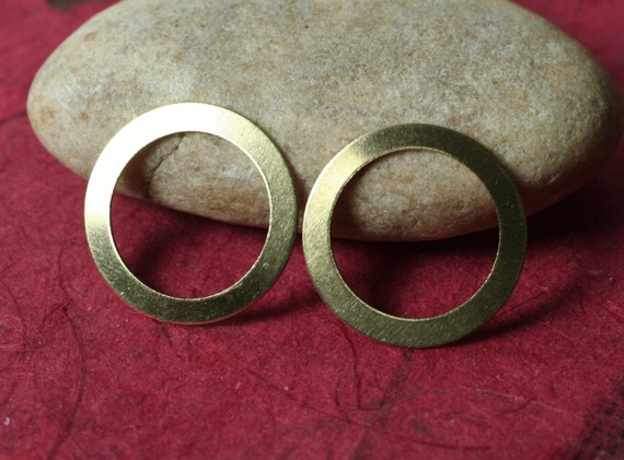 Solid brass circular link connector 20mm outer diameter 2.5mm ring width, 12 pcs (item ID XW01409)
