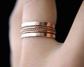 SALE Rose Gold Twist stacking ring set of 5, rose gold stack ring, rose gold staking ring, twist ring set, delicate rose gold ring, set of 5