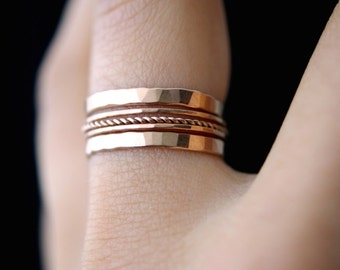 Rose Gold Twist stacking ring set of 5, rose gold stack ring, rose gold staking ring, twist ring set, delicate rose gold ring, set of 5