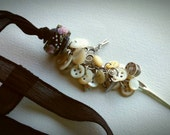 CHATELAINE - Artisan Lampwork, Silk and Charm Necklace - One of a Kind