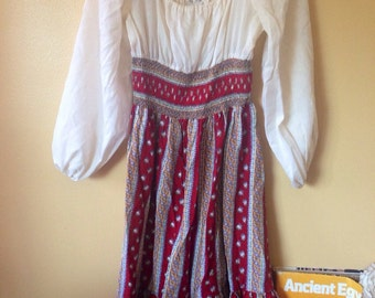 Vtg Floral Peasant Cotton Dress 1970s New York Designer