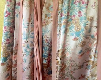 Vtg Chessa Davis Silk Pink Floral Patchwork Maxi Skirt