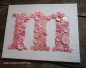 Personalized Kids Wall Art, Button Letter M on Silk, Button Art, Nursery Art, Toddler Gift, Baby Shower Gift, Wall Canvas or Ready-to-Frame