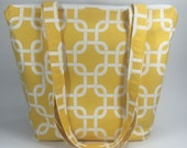 Reserved for Jessica - Yellow and White Zipper Tote with Pocket
