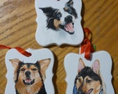 Australian Shepherd Pet Portrait Memorial Christmas Ornament Hand Painted and Made to Order by Pigatopia
