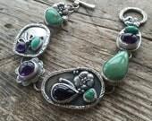 Sterling silver 'Treasure Bracelet', American turquoise and Amethyst. Handmade bracelet.