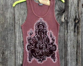 Batik brown Ganesha handmade hand painted eco friendly women tank top - yoga tees & tops -