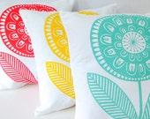New Scandinavian 'Rosie' cushion pillow cover by Jane Foster - retro Scandi flower print  - original artwork