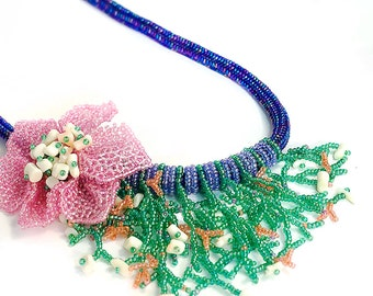 Leucothea // Beaded Necklace // Beaded Flower and Fringe // Vintage Coral // Beadwork // Seed Beads