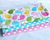 Baby Girl Burp Cloth Gift Set - Birds in Spring - Set of 3 Boutique Quality, Premium Cotton Burp Cloths