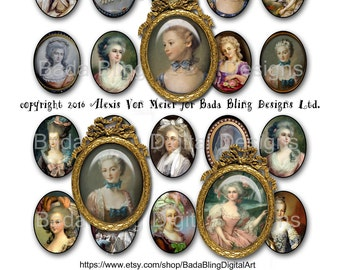 30mm x 40mm, Marie Antoinette, Before The Fall...INSTANT Download at Checkout,collage sheets for jewelry, Marie Antoinette collage sheets