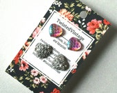 MERMAID Scales Heart Studs Set of 2 - Iridescent Pink Pastels and Shiny Silver