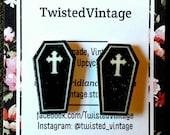 Halloween Cross Coffin Gothic Lolita Stud Earrings