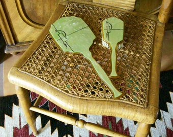 Vintage Hand Mirror Brush Set Celluloid Pearlized Green Art Deco Vanity Accessories 2 Pcs