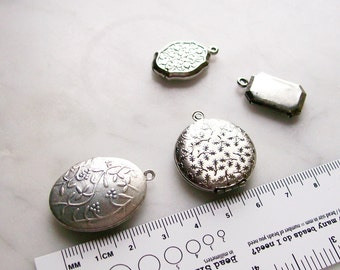 Embossed Silver Lockets Filigree Round Oval Pendants Jewelry Findings  4 Pcs.
