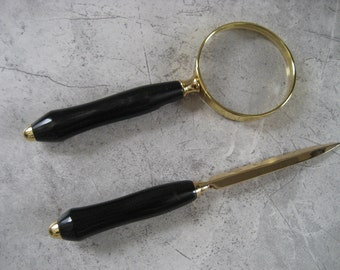Magnifying Glass and Letter Opener Set (Buffalo Horn)