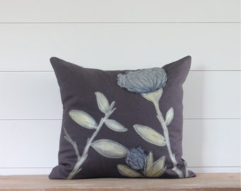 Charcoal Grey & Gold Pillow Cover