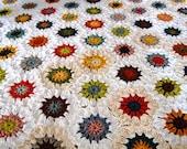 Granny Square Blanket, Handmade Crochet Afghan, Crochet Granny Square, House Warming Gift, Sunburst Crochet Square, Hexagon Granny Square