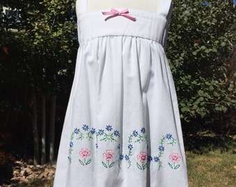 Pink and blue floral border pillowcase dress