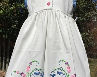 White and bluebell pillowcase dress