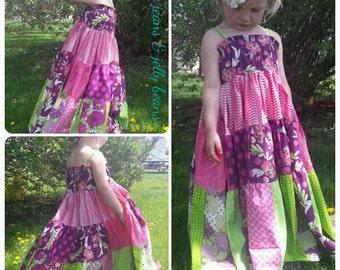 Girls Size 8, Four Tier Twirl, Full Length Hippie Dress