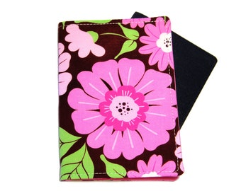 Pink and Green Flower and Leaves on Brown Passport Cover/Holder/Wallet