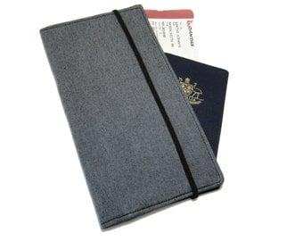 Men's Grey Travel Wallet - Passport Holder - Family Travel Wallet - Travel Organizer - Passport Wallet - Document Holder